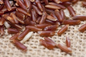 Himalayan Red Long grain Rice closeup