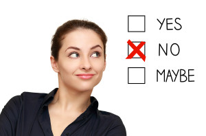 Business Woman Looking On Option And Select No Decision Isolated
