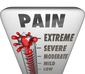 A thermometer measuring your pain level with mercury rising past