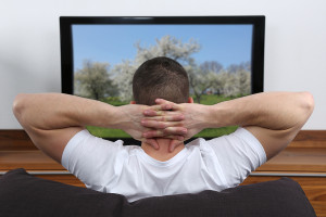 Young Man Watching Tv