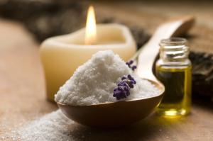 Bath Salt With Fresh Lavender Flowers